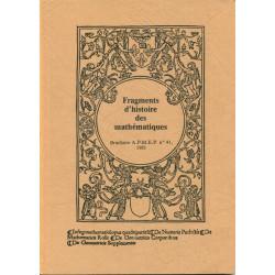 HISTOIRE des MATHEMATIQUES (FRAGMENTS d') TOME 1 (1981)